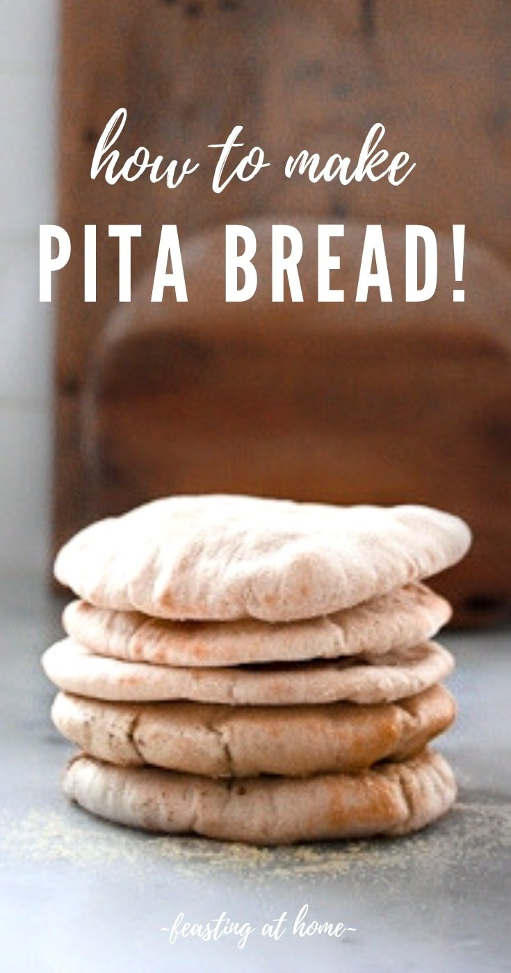 How to make fluffy homemade pita bread- a simple step by step recipe that turns out perfectly golden and puffed every time! #pitabread #pitarecipe #bestpitabread #wholewheat #homemadepita #bread #bakedpita #pita