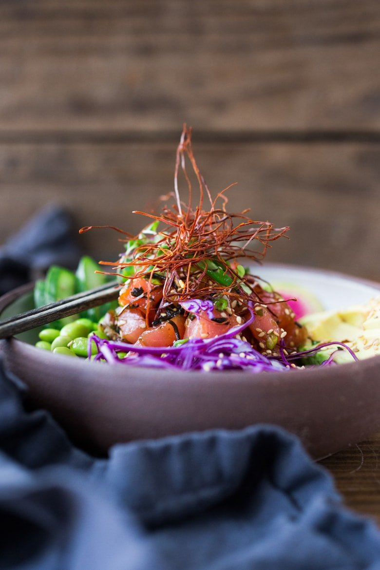 20 Summer Dinners for Hot Days! Poke Bowl- make with fresh ahi tuna or tofu in a flavorful Ponzu Dressing, loaded with fresh with veggies over rice!