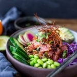 Poke Bowl- made with fish (or TOFU!) seasoned with sesame oil, over rice or keep noodles, surrounded with healthy veggies and citrus ponzu sauce! | www.feastingathome.com