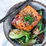 Sheet-Pan Teriyaki Salmon and Baby bok choy , a delicious healthy dinner that can be made in 25 minutes | www.feastingathome.com