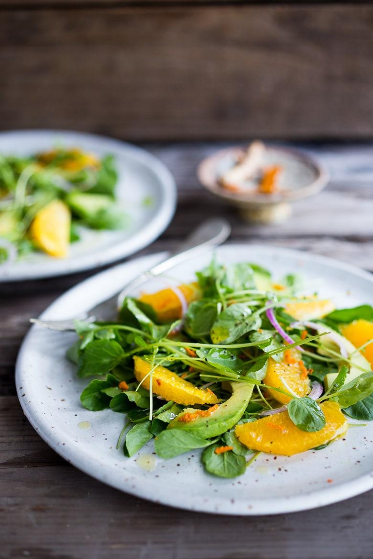 Cleansing Watercress Salad with Citrus, Avocado & Turmeric Dressing | www.feastingathome.com
