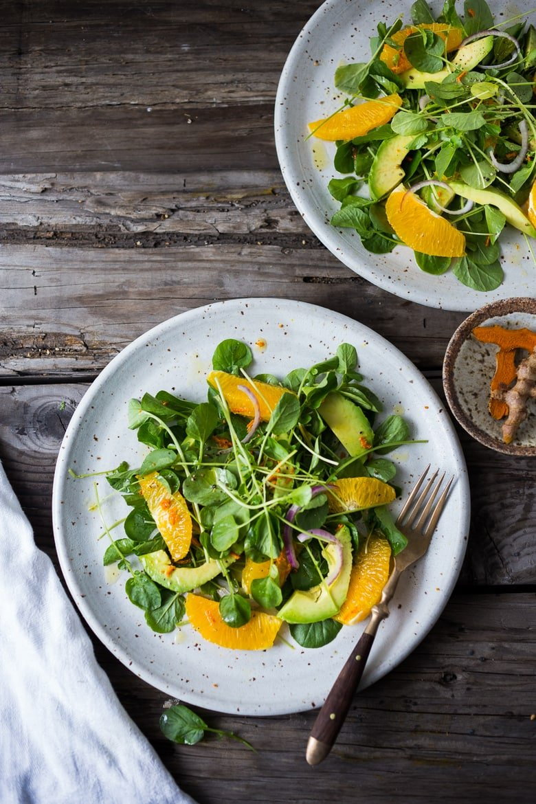 Cleansing Watercress Salad with Citrus, Avocado & Turmeric Dressing - a vibrant, peppery salad that is both energizing and gently detoxing with fresh turmeric root in the dressing. | www.feastingathome.com
