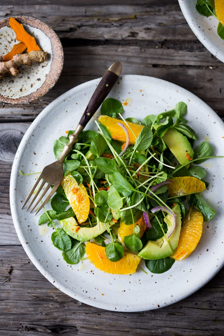 Watercress, Orange and Avocado Salad with Turmeric Citrus Dressing. Healing and Detoxing! Plus 10 Simple Powerful Turmeric Recipes to Heal, Sooth and Protect#vegansalad #turmeric #watercress #cleaneating #eatclean #vegan #turmericrecipes #plantbased | www.feastingathome.com
