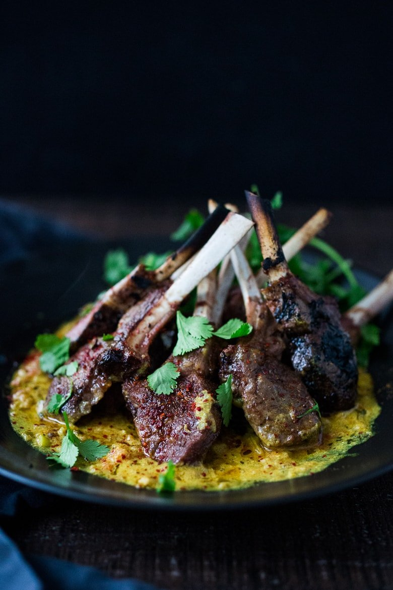 Roasted lamb Chops with Indian Fenugreek Sauce