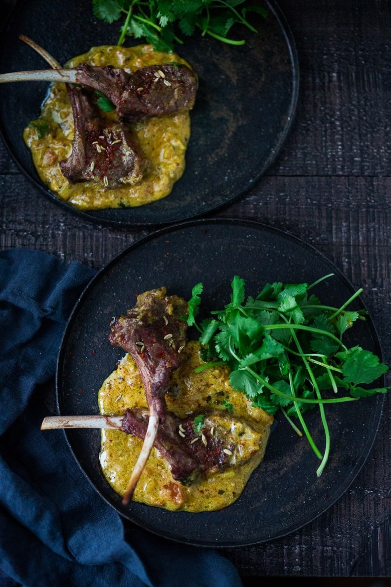 Oven-roasted Lamb Chops with the most fragrant Indian Curry Sauce! A easy flavorful meal that is perfect for special gatherings. #lamb #lambchops #roastedlamb #bakedlamb #indianrecipes #indian #currysauce #curry #currylamb