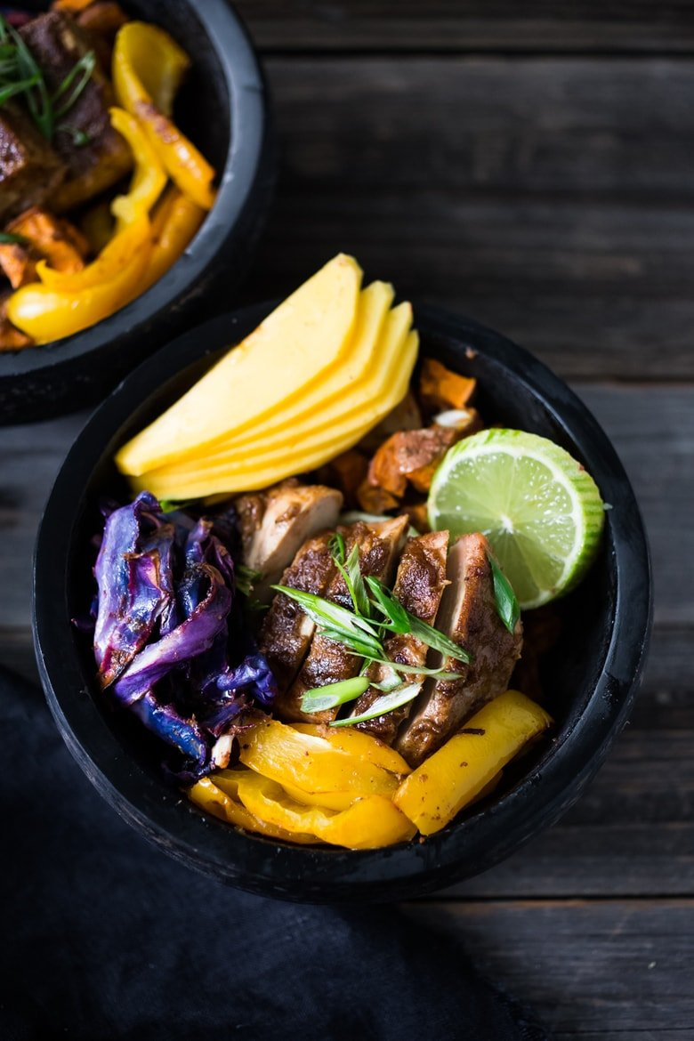 Sheet Pan Voodoo Bowl- make w/ Chicken or Tofu, inspired by the flavors of the West Indies with roasted veggies, mango and lime! | www.feastingathome.com