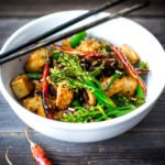 DELICIOUS Tofu Stir-Fry with Broccolini and mushrooms- a fast and easy weeknight dinner loaded up with healthy veggies and amazing flavor! | #tofustirfry #stirfry #broccoli #broccolini #vegan #weeknightdinner #veganstrifry #tofurecipes www.feastingathome.com