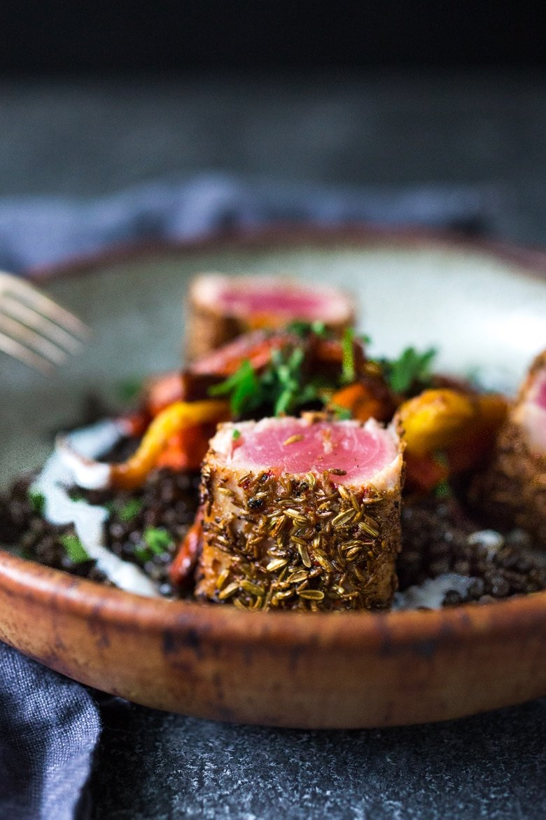 Seared Ahi served over Moroccan Seasoned Lentils with Roasted Carrots | www.feastingathome.com