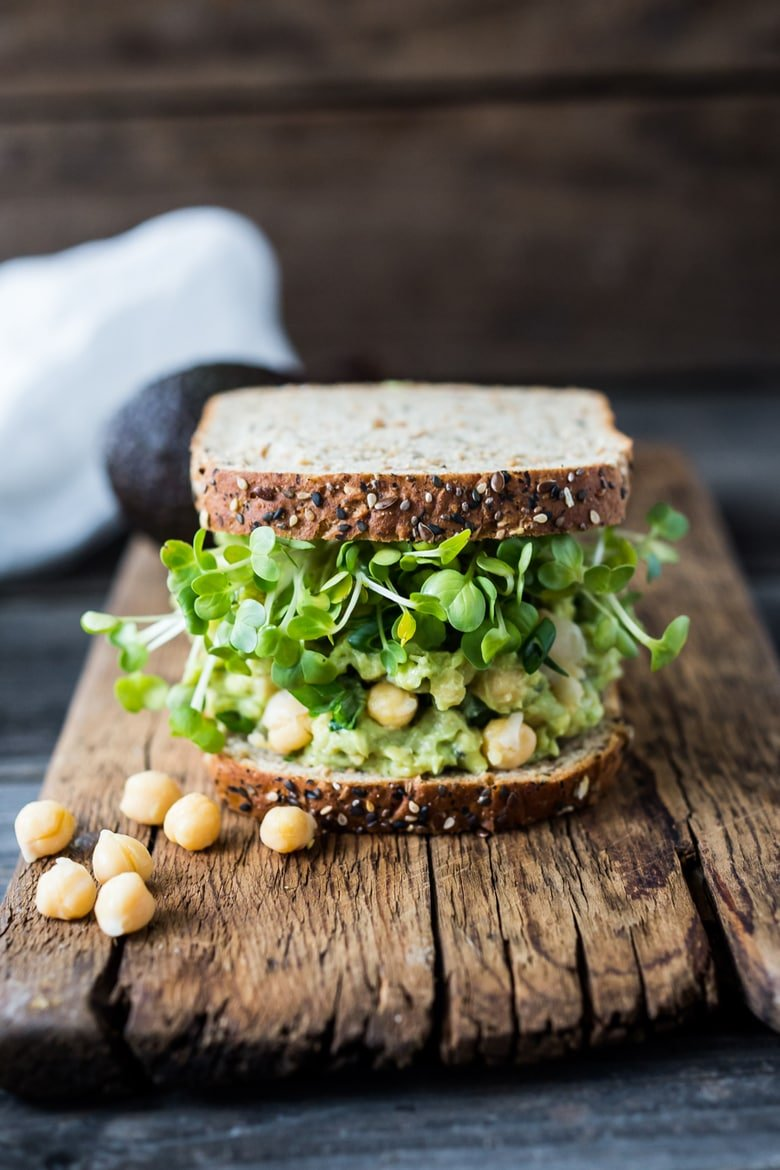 Smashed Chickpea Avocado Sandwich -FAST and Healthy, vegan, and sooooo satisfying and can be made in 5-10 minutes! | www.feastingathome.com