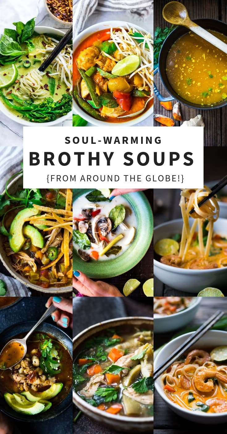 20 Healthy Broth Based Soup Recipes from around the world. Delicious and simple, with many paleo, gluten-free and vegan options! | #broth #brothbasedsoup #bonebroth #veganbroth #soup