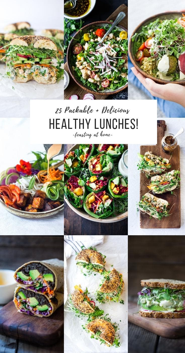 25 Delicious Healthy Lunches for the busy workweek. Packable and can be made ahead. Vegan and Gluten-free adaptable! #veganlunch #healthylunch #fastlunches #healthylunchideas #cleaneating #plantbased #veganlunches #healthylunches