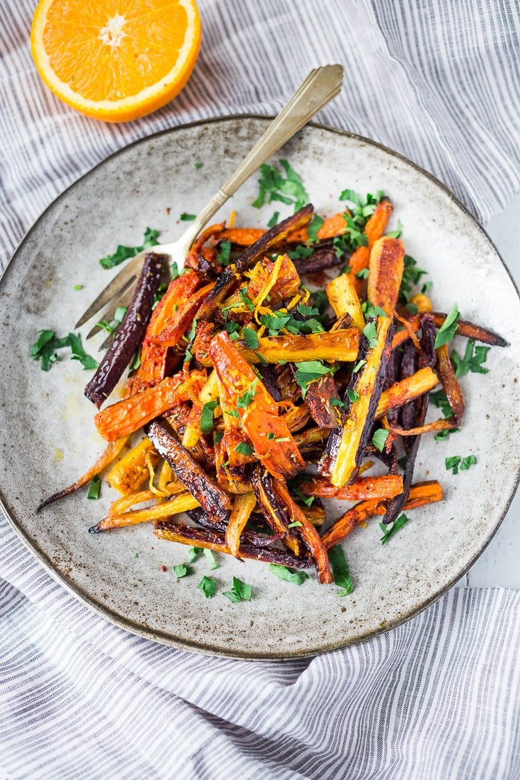 Moroccan Roasted Carrots with Citrus - an easy delicious vegan side dish!