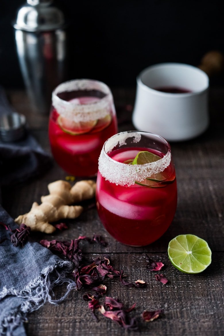 Hibiscus Margarita with Ginger and Clove- the perfect Cinco de Mayo cocktail - refreshing, delicious and easy to make! | www.feastingathome.com