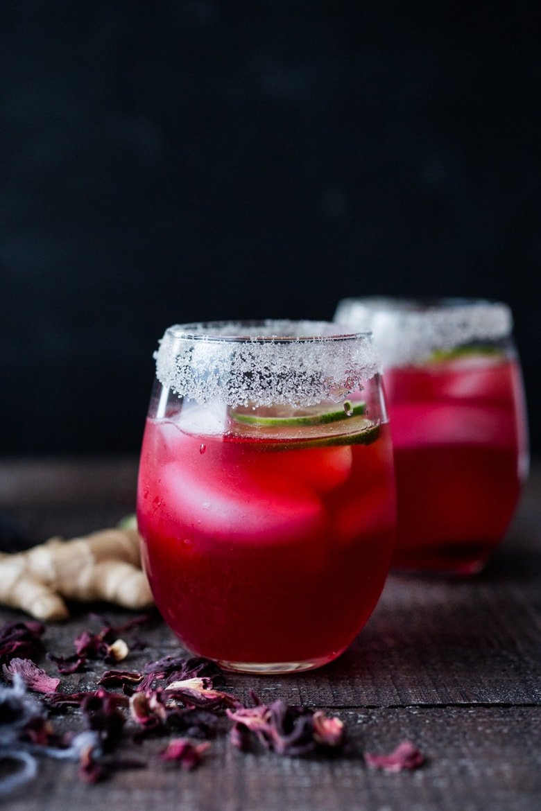 Hibiscus margaritas with Ginger and Lime! #hibiscusmargaritas