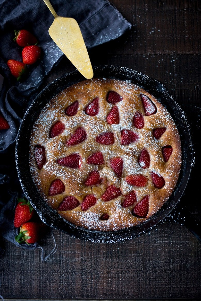 Strawberry Breakfast Cake- a sweet treat for Mother's Day brunch. GF Adaptable. | www.feastingathome.com