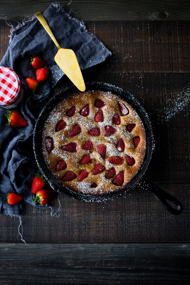 Strawberry Breakfast Cake- a sweet treat for Mother's Day brunch. GF Adaptable.   www.feastingathome.com