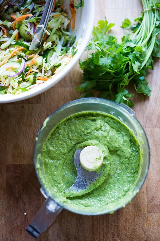 Vegan Avocado Cilantro Sauce- | www.feastingathome.com