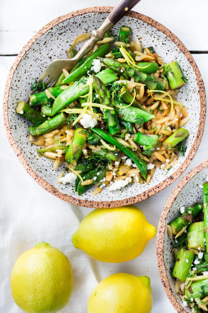 Spring Orzo Pasta with Asparagus, Lemon and Dill- serve this warm as quick flavorful entree or chilled as a side salad. A healthy vegetarian pasta recipe!
