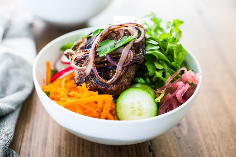 Healthy Tasty BURGER BOWLS- loaded up w/ healthy veggies & greens, can be made with grass-fed beef, lamb, turkey or veggie burgers! Gluten-free, vegan!   www.feastingathome.com