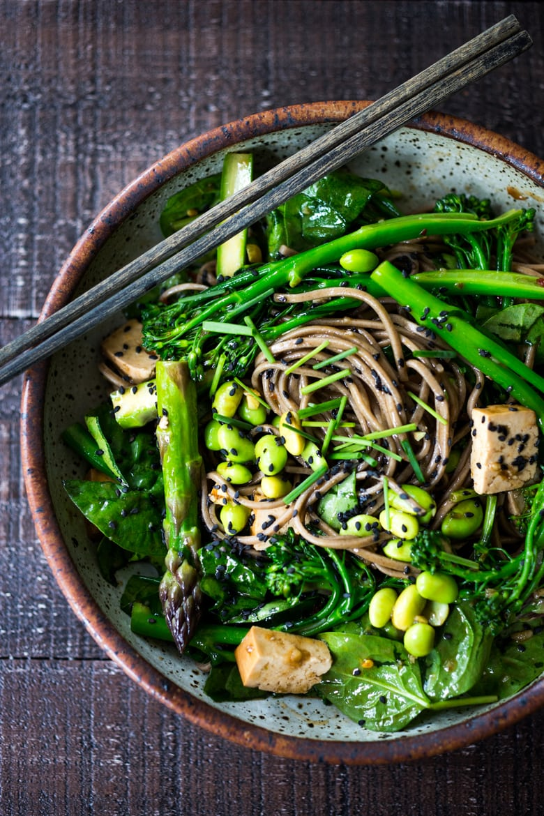 40 Mouthwatering Vegan Dinner Recipes!| Jade Noodles loaded with seasonal veggies and a sesame dressing. | www.feastingathome.com