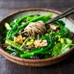 Vegan soba noodles loaded up with fresh seasonal veggies ad sesame dressing.