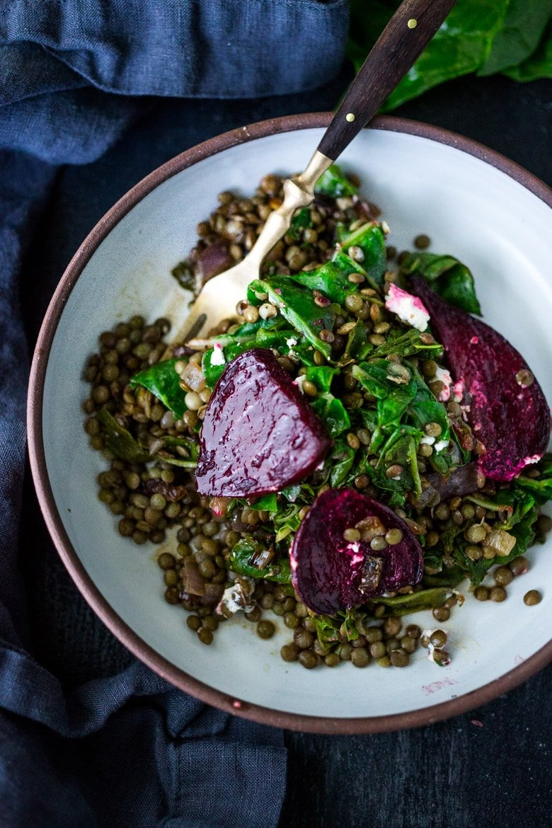 25 BEST Lentil Recipes! |Warm Lentils with chard, roasted beets, goat cheese and spring herbs. | www.feastingathome.com