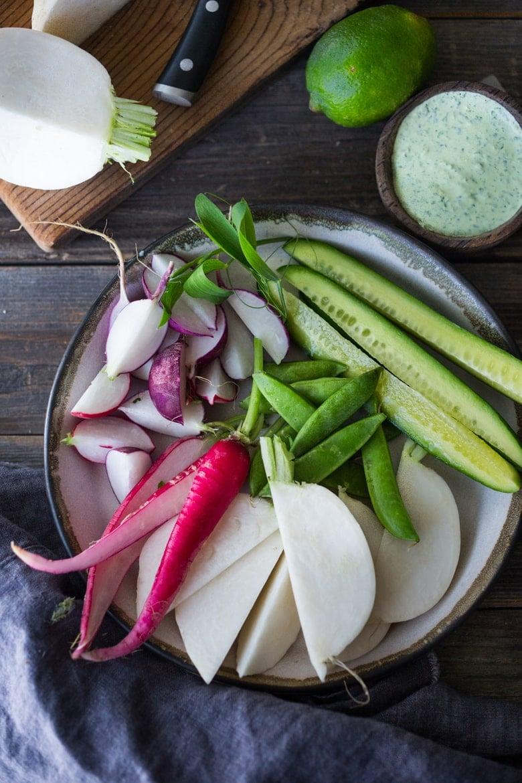 Farmers Market Veggies and Cilantro Dip- a flavorful, delicious & healthy snack! vegan adaptable & gluten free! | #dip #healthydip #farmersmarketveggies #veggiesanddip #vegan #vegandip www.feastingathome.com