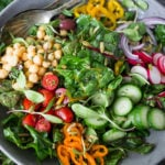 Mediterranean Chard Salad with farmers market veggies, chickpeas and toasted pepitas. | www.feastingathome.com