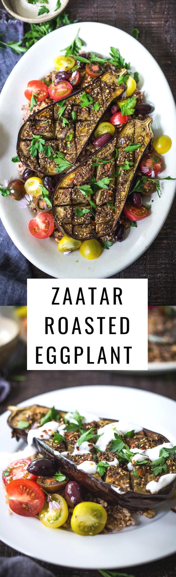 Zataar Roasted Eggplant served over rice or grains with lemony tahini sauce, plain yogurt or tzatzki sauce. Vegan, Gluten-free! | www.feastingathome.com #vegan #eggplant #roastedeggplant #veganeggplant #zaatar #zaatareggplant