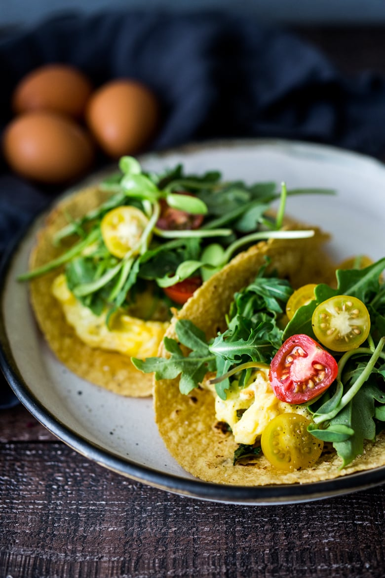 Breakfast Tacos!  These delicious Scrambled Egg Tacos make for a quick and healthy breakfast, dinner or a late night snack- healthy and vegetarian - these can be made in 15 minutes!