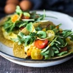 Scrambled Egg Tacos- a healthier lighten up version of breakfast tacos, these make a quick dinner or late night snack!