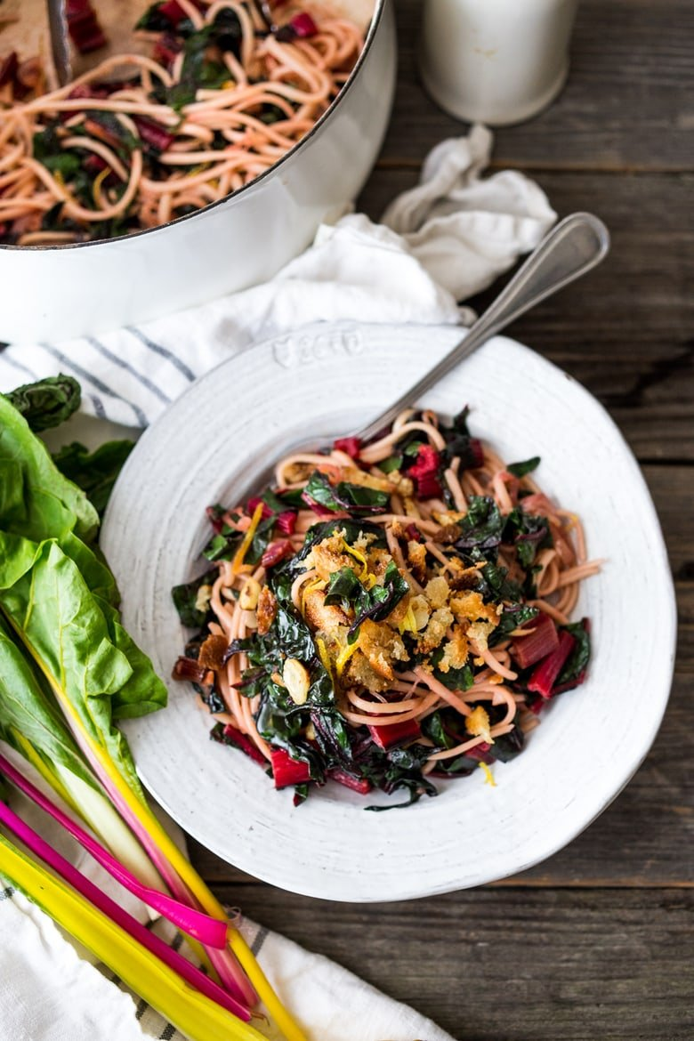 Garlicky Chard Pasta with lemon and toasted bread crumbs- a healthy vegan 30 minute meal. | www.feastingathome.com