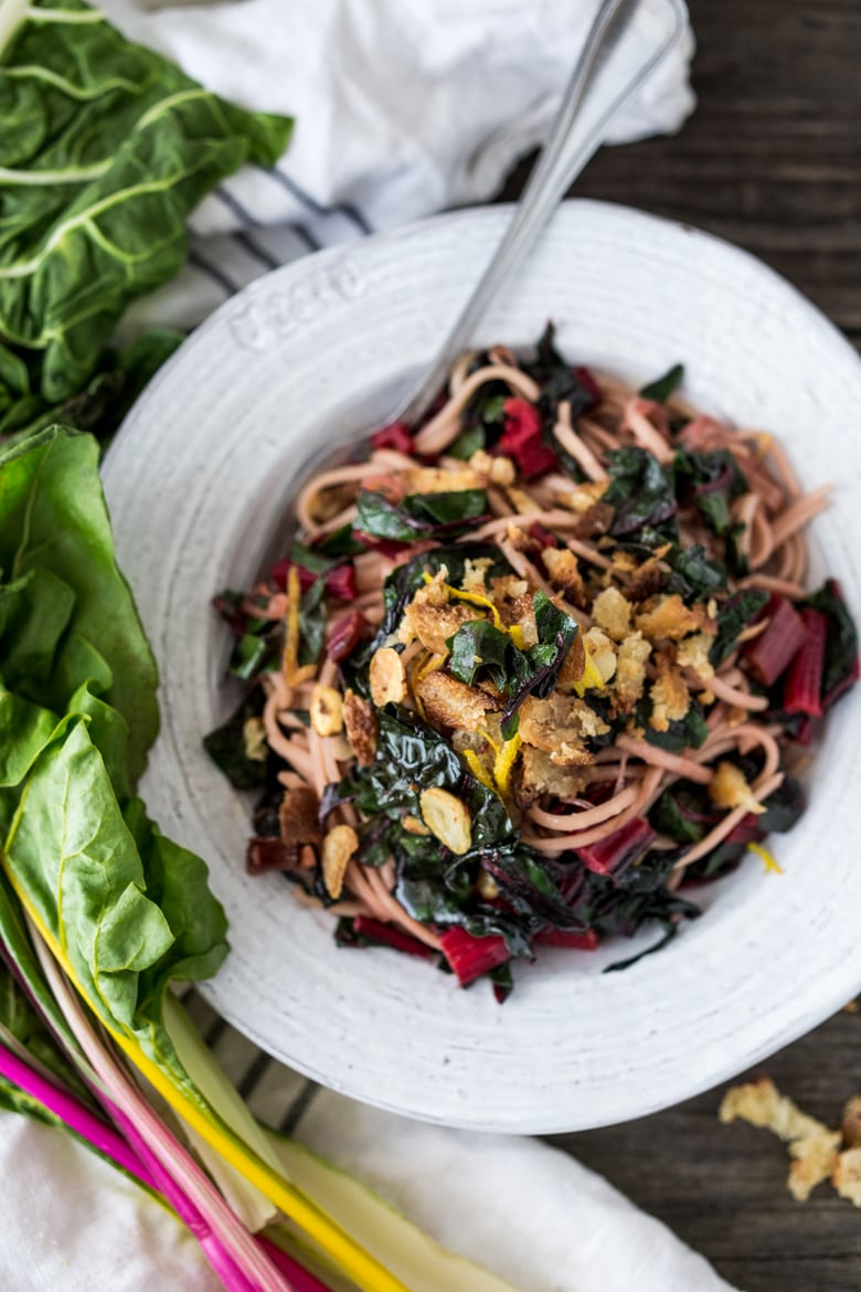 Garlicky Chard Pasta with Toasted Bread Crumbs- a delicious way to use up all that summer chard! #chard #pasta #vegan