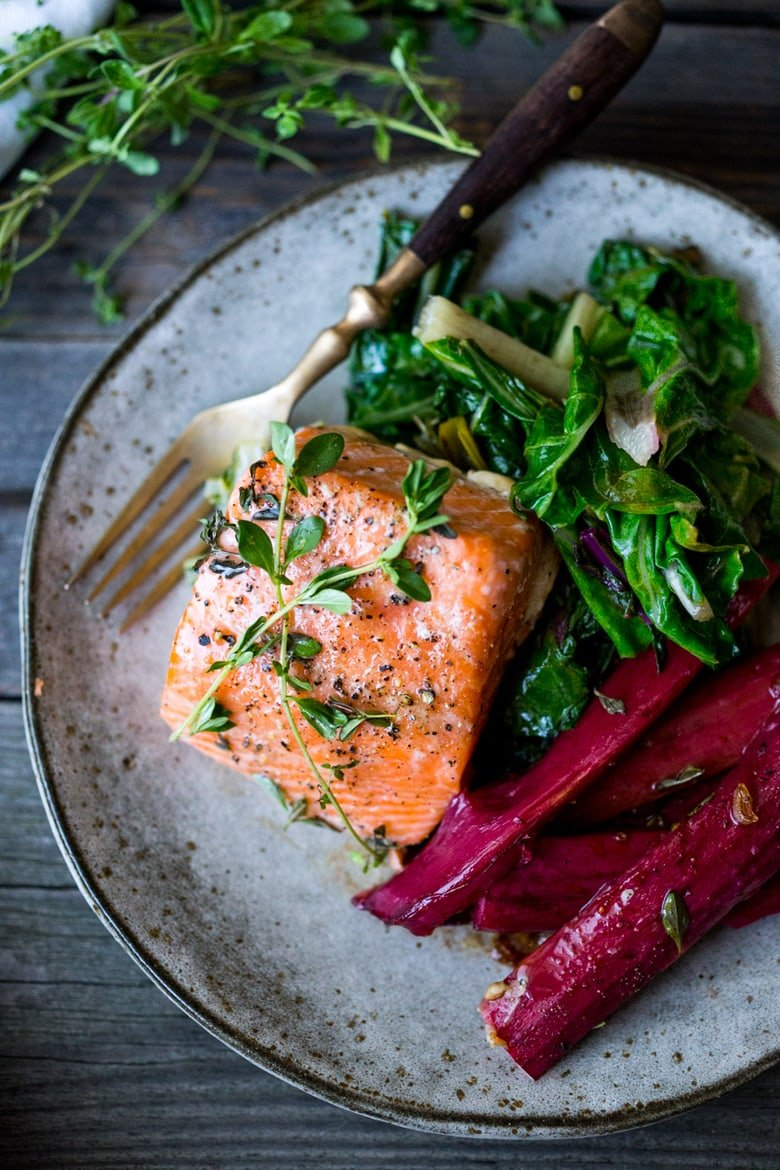 Roasted Salmon with Savory Rhubarb and Chard- a quick healthy meal that can be made in 30 minutes. |www.feastingathome.com