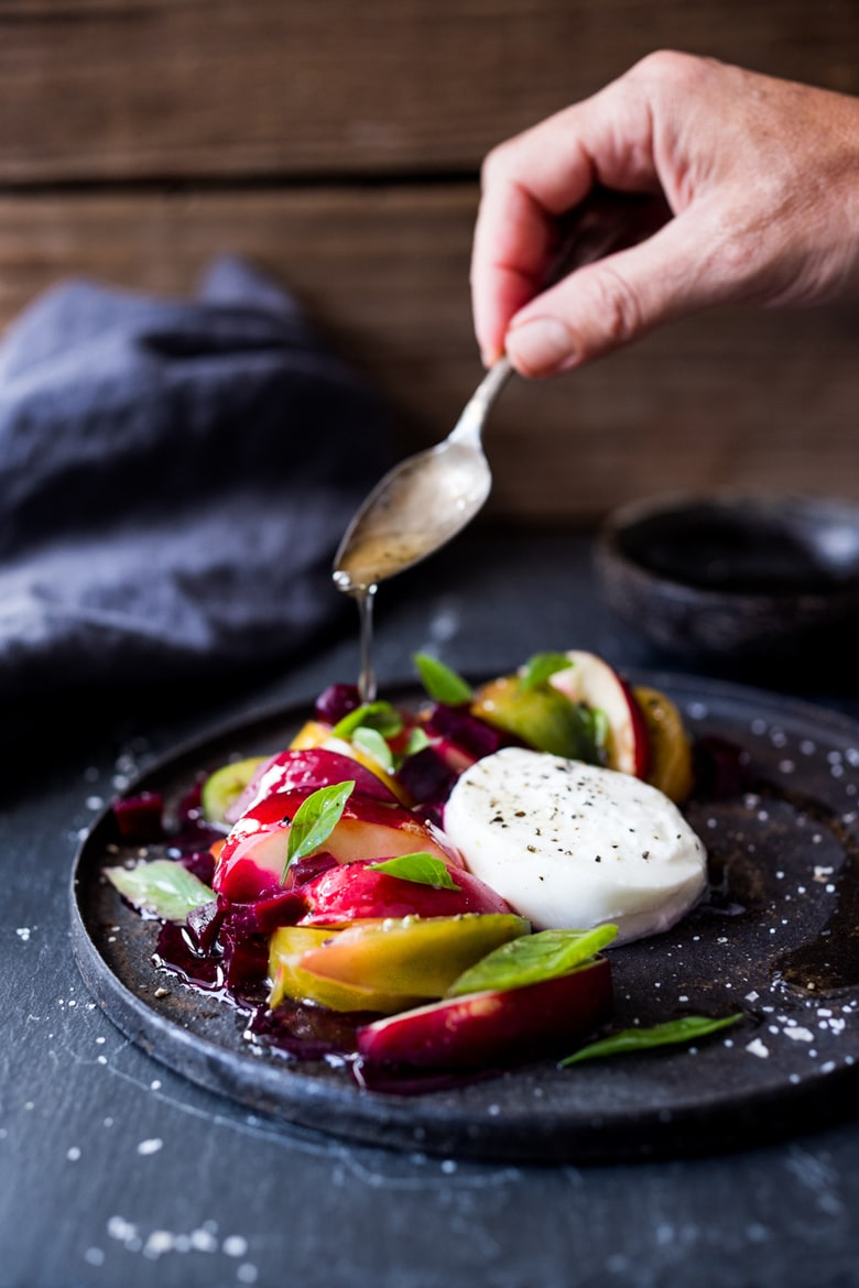 Northwest Caprese Salad with Nectarines, Heirloom Tomatoes, Beets, fresh basil and creamy Burrata cheese- a lovely summer salad! | www.feastingathome.com