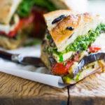 Grilled Eggplant Muffuletta Sandwich - a vegetarian version of the Italian classic! | www.feastingathome.com