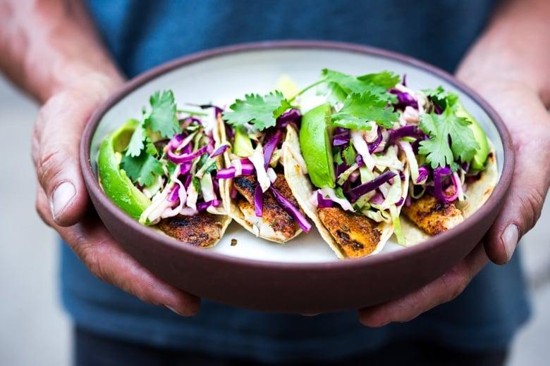 Quick Easy Fish Or Tofu Tacos W Cilantro Lime Cabbage Slaw