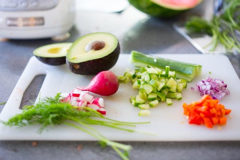 watermelon gazpacho toppings