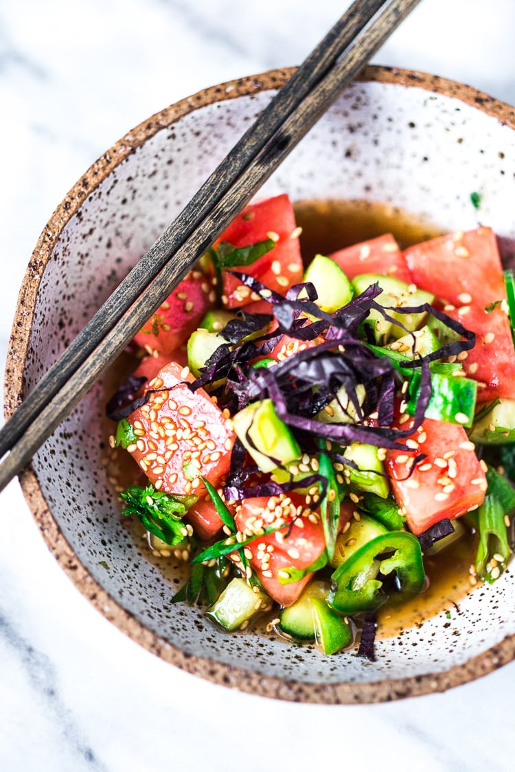 Watermelon Salad with Cucumber, Shiso, Sesame Seeds and Scallions - a light and refreshing Asian-style Watermelon Salad that is vegan, gluten-free and full of flavor!#watermelonsalad #shiso #shisorecipe #watermelon