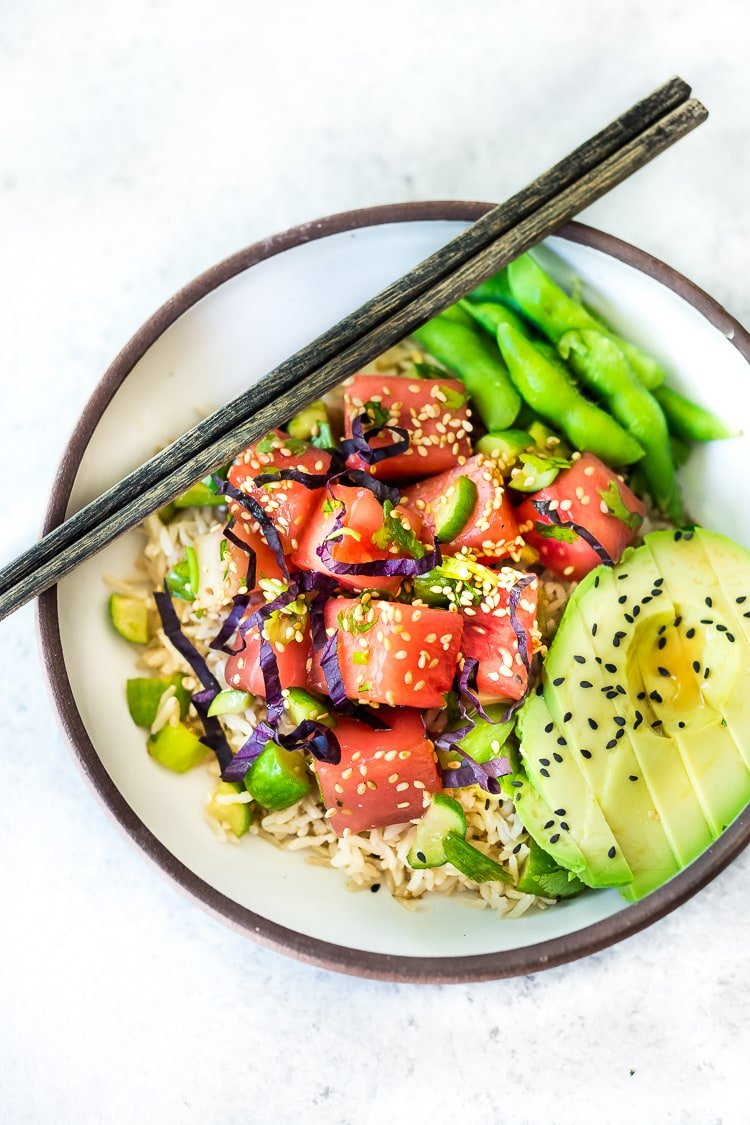 A simple delicious recipe for Watermelon Salad with Shiso leaves, Cucumber, Sesame Seeds and Scallions - a light and refreshing Asian style Watermelon Salad that is vegan, gluten-free and full of flavor! #watermelonsalad #shiso #shisorecipe #watermelon