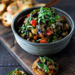 "This Sicilian recipe for Eggplant Caponata- is simple, easy and full of summer flavor! Serve it as a healthy vegan appetizer over crostini, or as a delicious side dish, or turn it into an eggplant ""salad"" served over greens and grains! Low- Carb  and Vegan! #eggplantrecipes #eggplantcaponata #caponata #feastingathome #grilledeggplant #vegan #healthy"