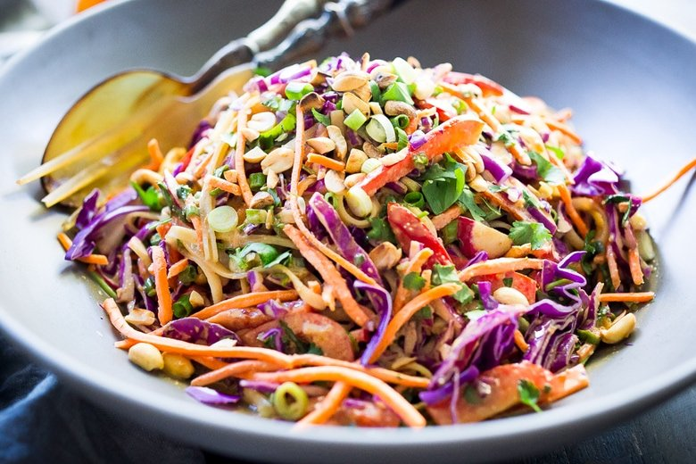 thai noodles tossed with peanut sauce