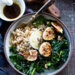 Farro Bowl with Figs, Kale and Goat Cheese- a simple, healthy and packable meal, perfect for mid-week lunches. | www.feastingathome.com