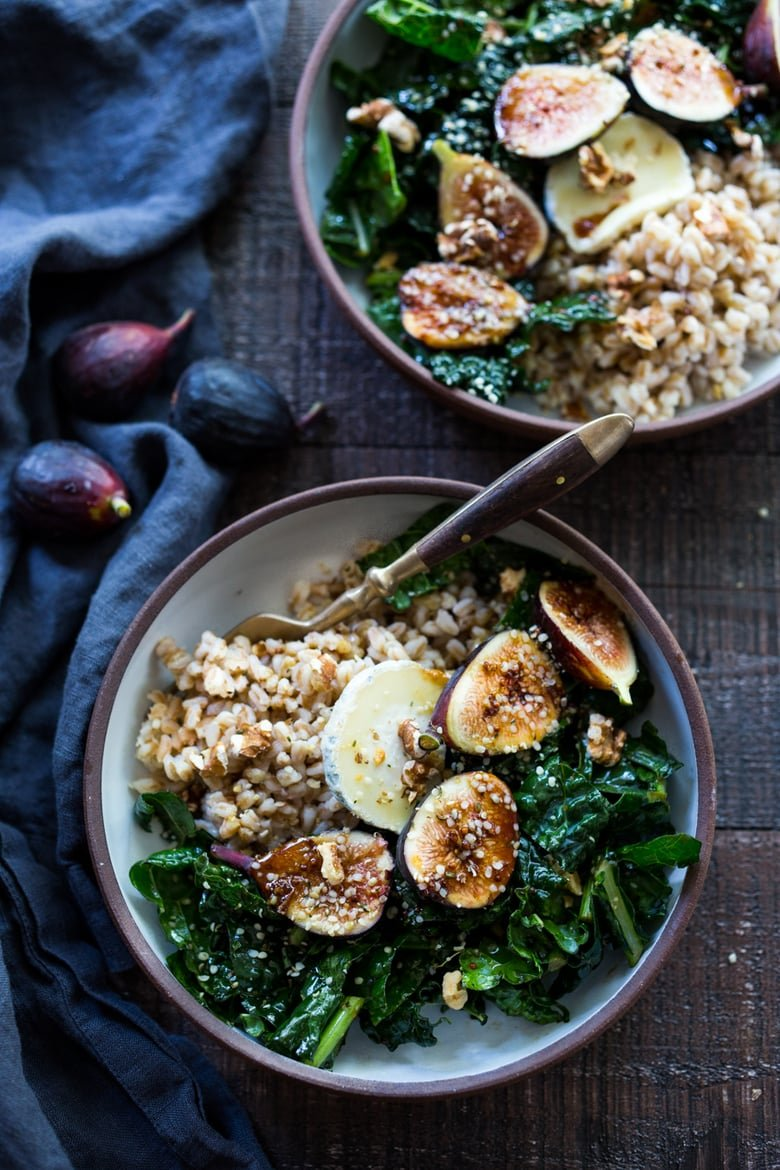 Farro Bowl with Kale Figs and Goat Cheese - a simple healthy meal, perfect for mid week lunches. Quick and Easy! | www.feastingathome.com