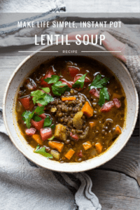 Make Life Simple, Instant Pot Lentil Soup is vegan and gluten free and can be made on the stove- top or in an Instant Pot in with 12 minutes of cook time! Flavorful and healthy with Middle Eastern Spices! www.feastingathome.com #instantpot #lentilsoup #lentils #instantpotlentilsoup #vegan #veganlentilsoup #instantpotsoup #instantpot #instantpotlentilsoup #eatclean #cleaneating