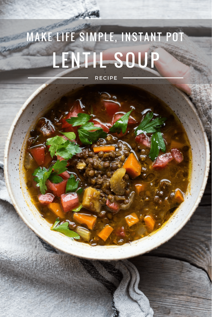 Instant Pot Lentil Soup w/ Middle Eastern flavors, vegan, gluten free this soup cooks in just 12 minutes! | www.feastingathome.com #instantpot #lentilsoup #instantpotrecipes