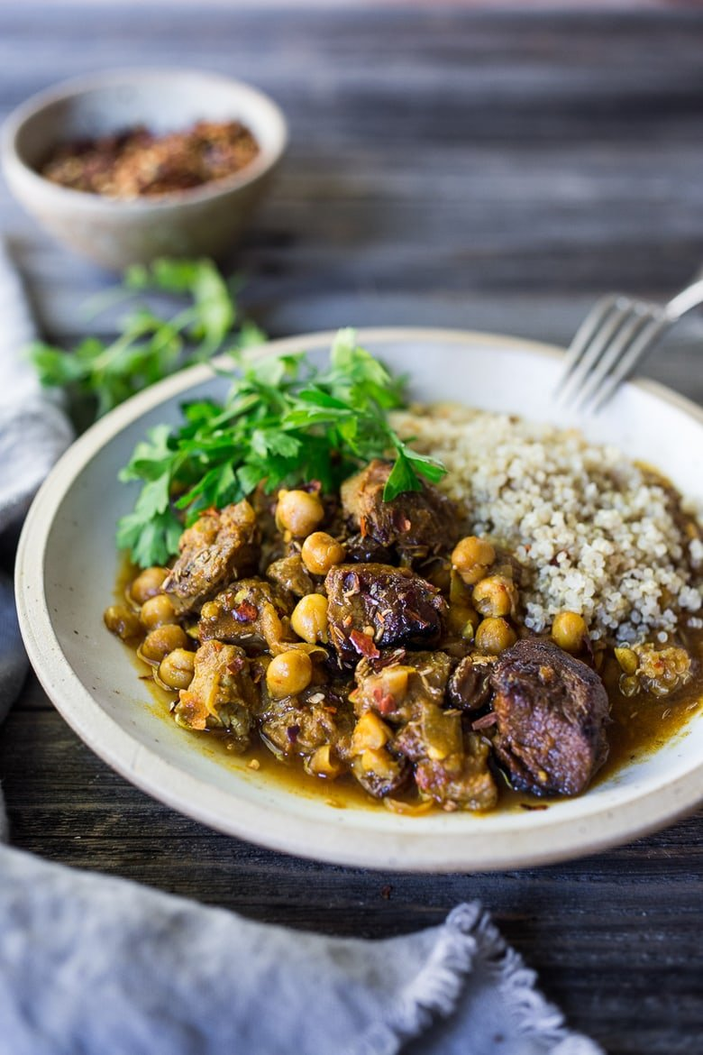 """Instant Pot Middle Eastern Lamb Stew with chickpeas and fragrant spices- a simple flavorful wholesome meal. Serve over quinoa, basmati rice or cauliflower """"rice"""". 