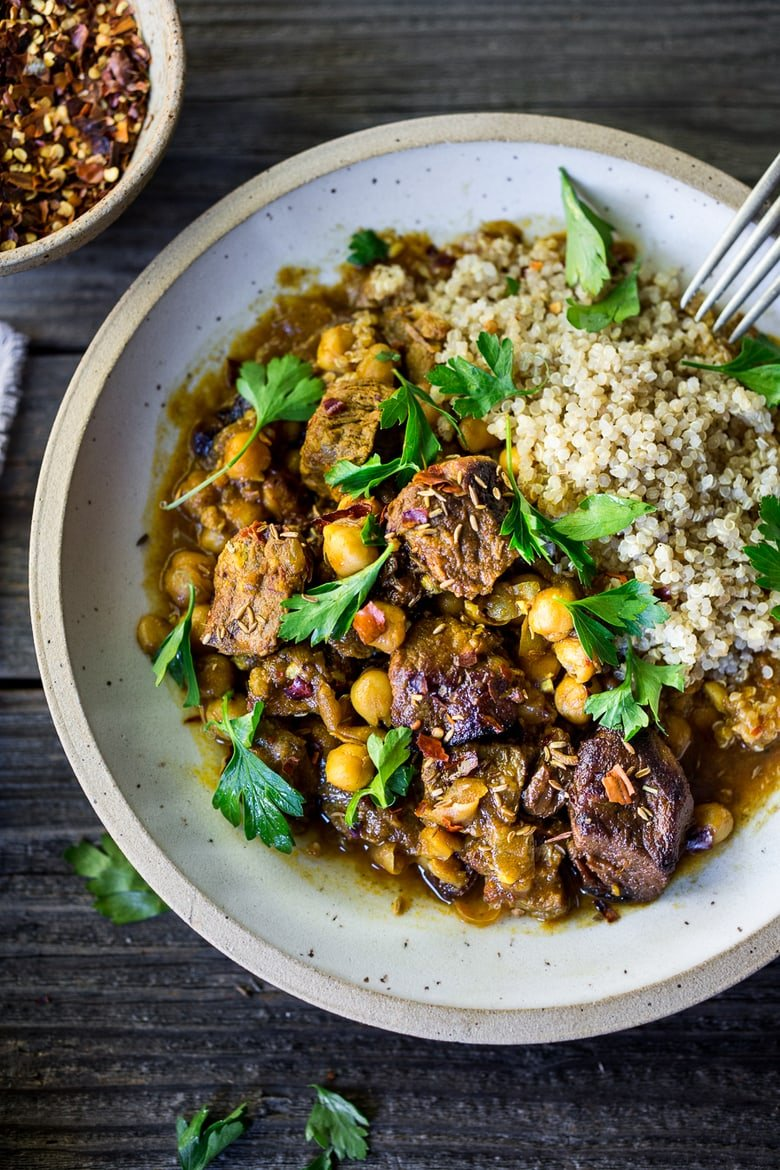 "20 Ethnic-Inspired, Instant Pot Recipes from around the world!| Instant Pot Middle Eastern Lamb Stew with chickpeas and fragrant spices- a simple flavorful wholesome meal. Serve over quinoa, basmati rice or cauliflower ""rice"". 