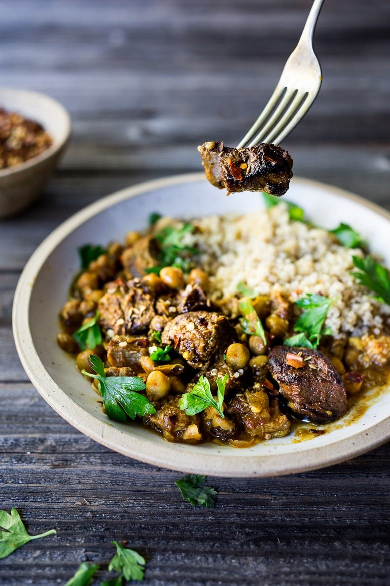 "Instant Pot Middle Eastern Lamb Stew with chickpeas and fragrant spices- a simple flavorful wholesome meal. Serve over quinoa, basmati rice or cauliflower ""rice"". 