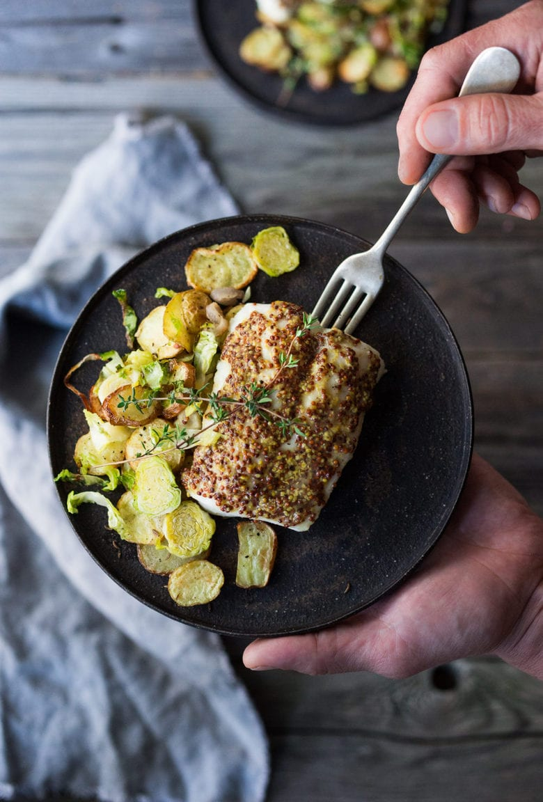 Roasted Mustard Seed White Fish with Potato-Brussel Sprout Hash